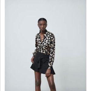 NWT Zara Satin Animal Print Button Up Blouse